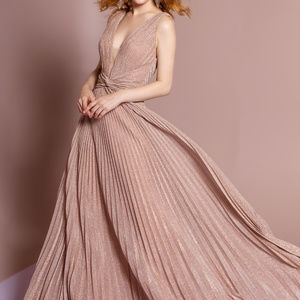 V-Neckline Formal Evening Long Dress GL2687 Gold
